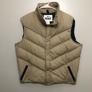 Woolrich down filled vest tan large vtg